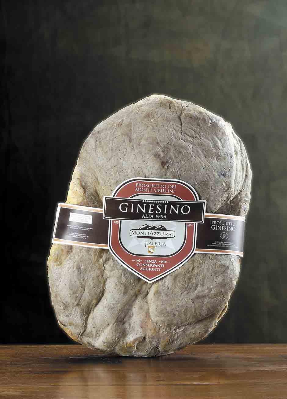 Prosciutto dei Monti Sibillini GINESINO alta fesa aperto tipo gran speck, sugnato